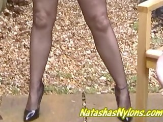 english milf outdoors in silk nylons