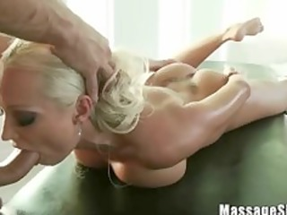 pretty blonde diana sucking her masseurs pecker