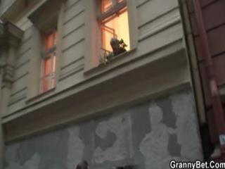 plump blonde granny seduces the neighbour boy