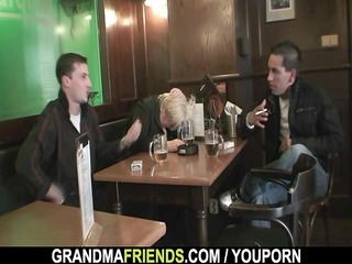 two fellows bang completely drunk granny