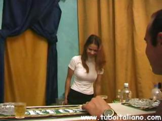 sexy brunette hair italian wife blows him and