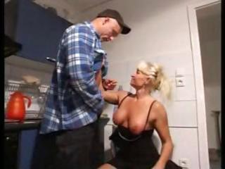 horny golden-haired granny blows the repairman