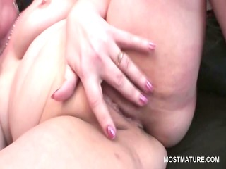 lonely golden-haired aged masturbating with