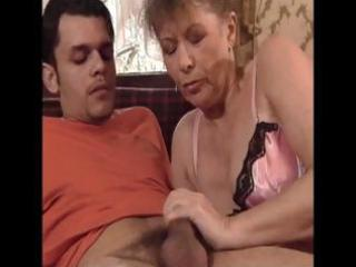 hawt looking granny sucks a younger cock and then
