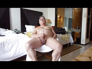 aged solosexual showing his genitals and cumming
