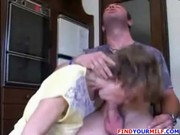 hawt and unattractive mom and her son kitchen fuck