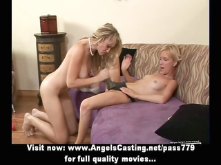 hot lesbo chicks toying pussy and fucking with