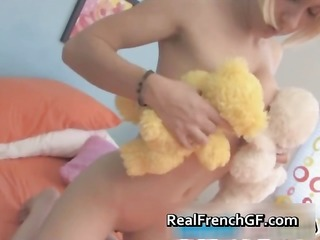 blonde french slut shows her marital-device part0