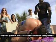 older blonde wench at a party acquires a blowjob