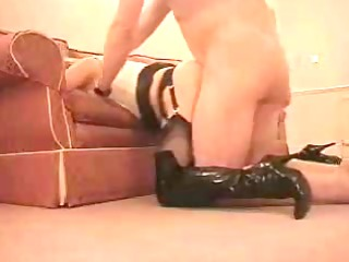 milf in leather fucked from behind.