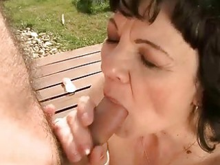 granny getting drilled outdoor