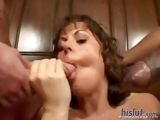 brunette hair jewel denyle comes over for trio