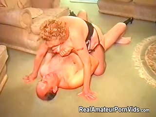 a plump granny has sex with her husband