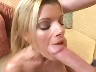 Busty blonde Kristal Summers sucks on a big cock