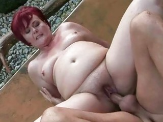 fat grandma acquires her pussy drilled outdoor