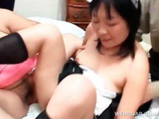 lusty oriental older maiden joining a hardcore