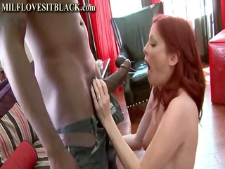 wicked redhead cougar is so excited to see his