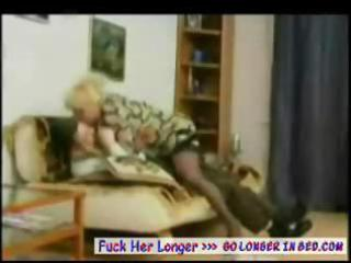 older russian blond mommy teases his stiff