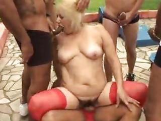 mature granny blond victoria team fuck outdoor sex