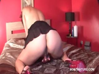 solo scene with aged playgirl masturbating