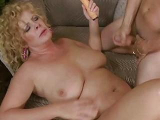 breasty mature lady slurps on giant bulky prick