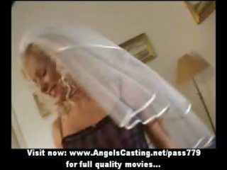 sexy blond milf as bride does blow job and