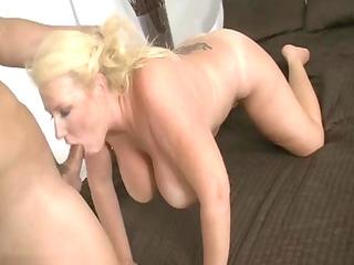 older blonde wench engulfing pounder