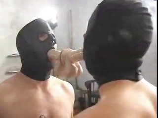 mistresse sade bonks with her hooded slave and
