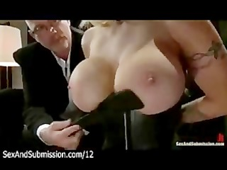 biggest tits golden-haired spank and blowjob by