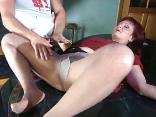 horny mamma with nylon tights stuffed below