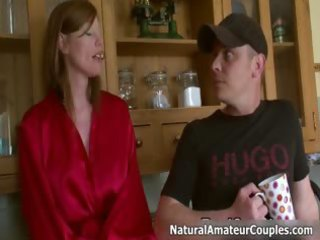 excited mother i talking with her boyfriend part1