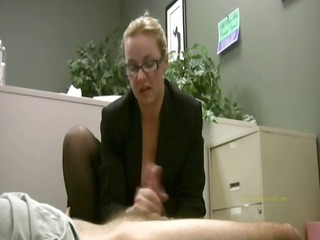 employee gets masturbated by his excited lady boss
