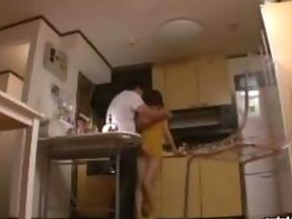 slender mother i sex with plump man in kitchen