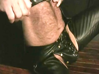 watching leather daddy jerking off