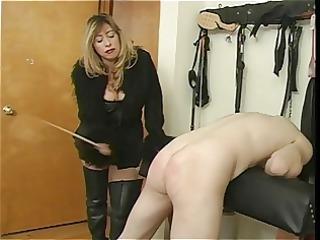 femdom-goddess cristian flogging her villein dude