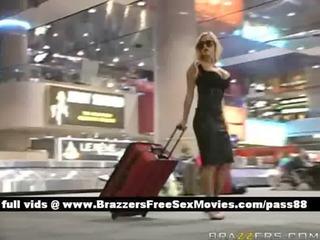 superb blond angel arrive at airport customs