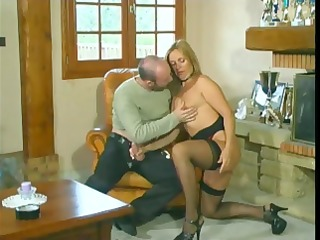 golden-haired with a nice wazoo eats his cock,