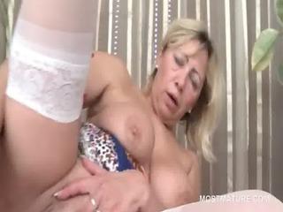 blond mature vibrating peachy twat in ottoman