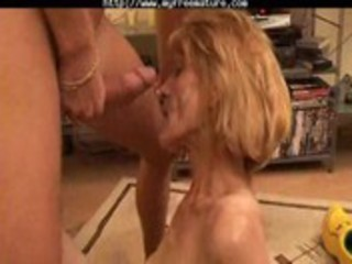 slim mature receives her bushy pussy boned by