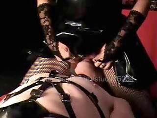 sexual animal in leather suit makes his raunchy