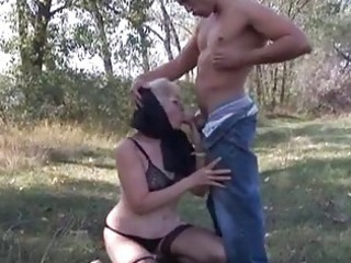 naughty blond granny opens old pu...