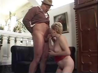 old blonde granny gets fingered and blows an old