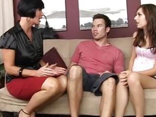 hot mum teaching her preggo daughter how to