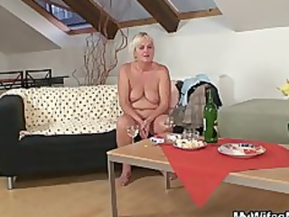 drunk fuckfest with lascivious granny and her son