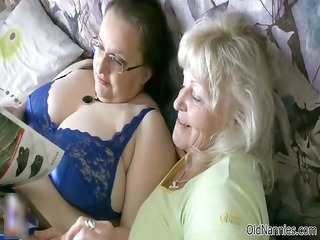 older fat woman receives her love melons rubbed