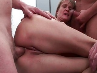 ass drilled older whore receives five rock hard