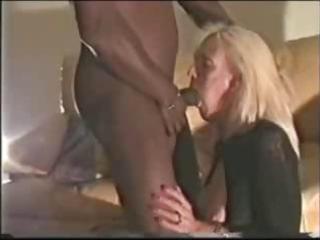 blonde older sucks on a darksome ramrod and