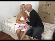 amazing golden-haired older seducing her son\s