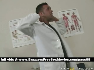a boy dresses as a doctor and gives a hot blonde