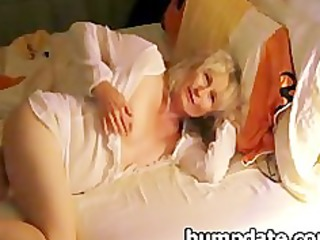 blond mature masturbating for her spouse